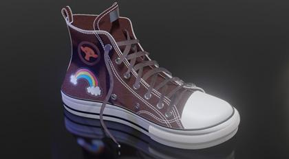 Blender2.8高帮彩绘板鞋全流程制作教学