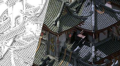 中式游戏场景三渲染二完整制作流程教程